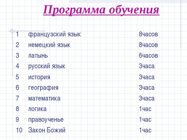 Программа обучения 1французский язык8часов 2немецкий язык8часов 3латынь...