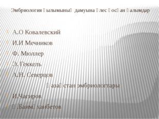 Эмбриология ғылымының дамуына үлес қосқан ғалымдар А.О Ковалевский И.И Мечник