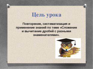Цель урока Повторение, систематизация и применение знаний по теме «Сложение и