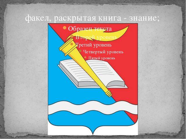 факел, раскрытая книга - знание;