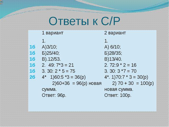 Ответы к С/Р 1 вариант 2 вариант 1б 1б 1б 1б 1б 2б 1. А)3/10; Б)25/40; В).12/...