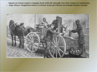 Однако не только пушки и снаряды были заботой лошадей. Без коня солдата не н