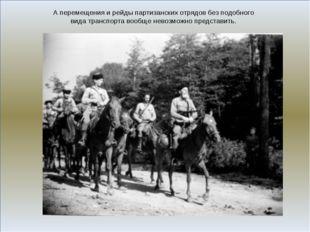 А перемещения и рейды партизанских отрядов без подобного вида транспорта воо