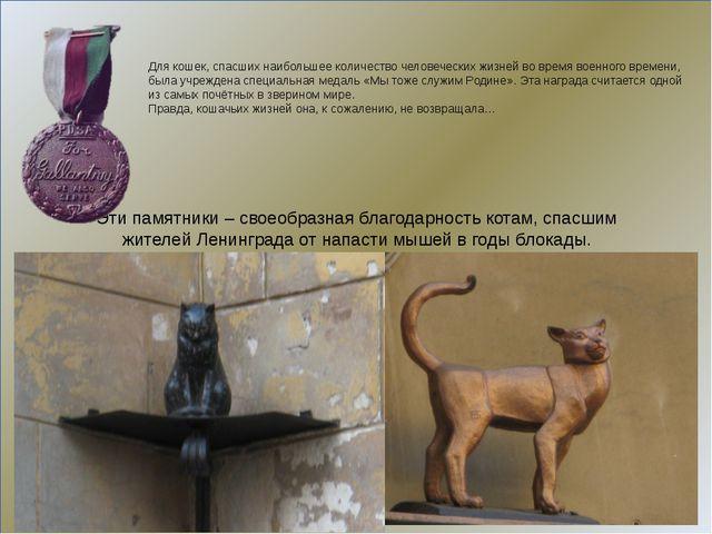 Этипамятники–своеобразнаяблагодарностькотам,спасшим жителей Ленинград...
