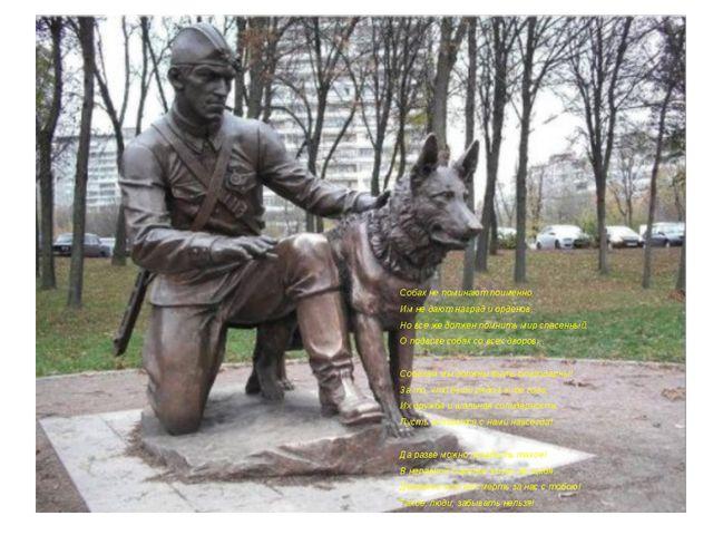 Собак не поминают поименно, Им не дают наград и орденов, Но все же должен по...