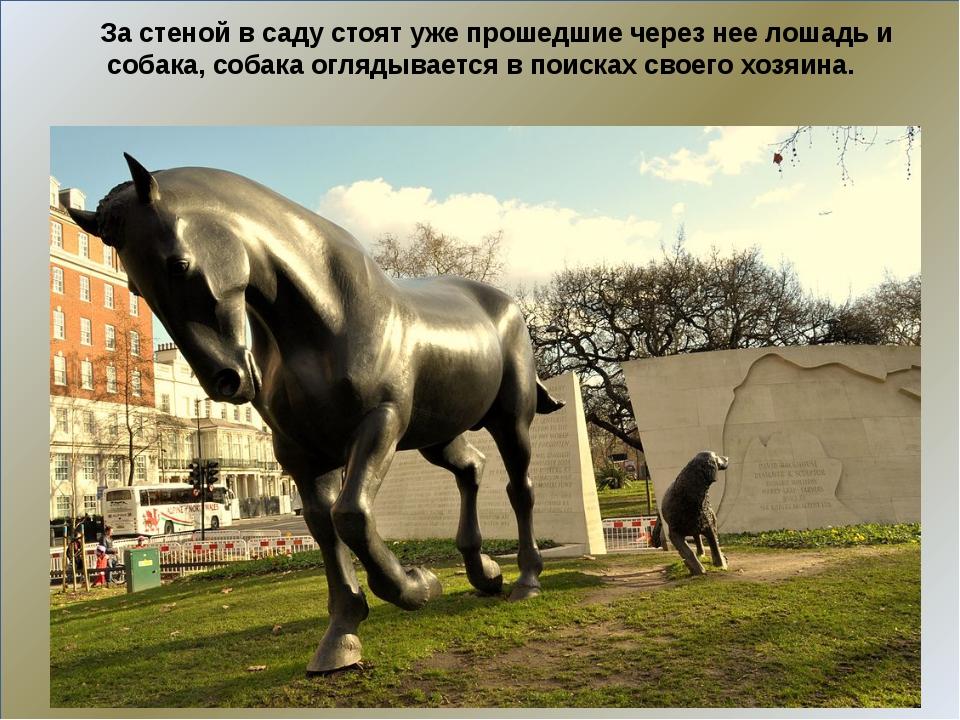 За стеной в саду стоят уже прошедшие через нее лошадь и собака, собака огляд...