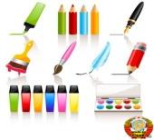бесплатный Stock Vector: Drawing and painting tools Принадлежности для рисования карандашами и красками