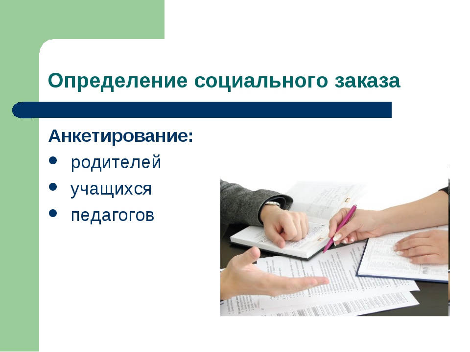 Определение социального заказа Анкетирование: родителей учащихся педагогов
