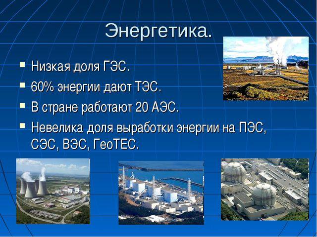 Энергетика. Низкая доля ГЭС. 60% энергии дают ТЭС. В стране работают 20 АЭС....