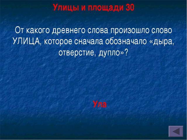 Улицы и площади 30 От какого древнего слова произошло слово УЛИЦА, которое с...