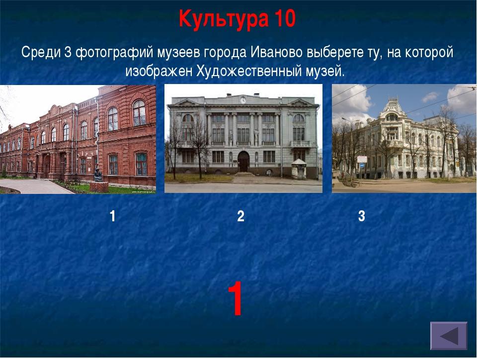 Культура 10 Среди 3 фотографий музеев города Иваново выберете ту, на которой...