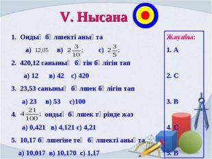 V. Нысана 1. Ондық бөлшекті анықта а) 12,05 в) с) 2. 420,12 санының бүтін бөл
