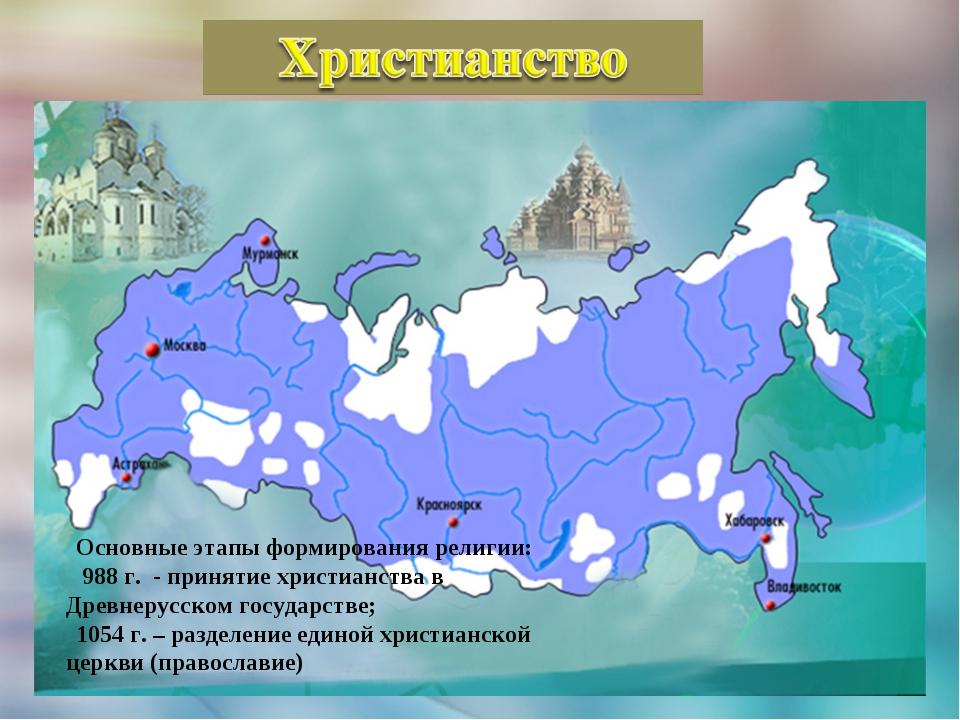 Основные этапы формирования религии: 988 г. - принятие христианства в Древнер...