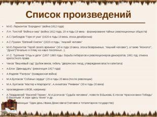 """Список произведений М.Ю. Лермонтов """"Бородино"""" (война 1812 года) Л.Н. Толстой"""