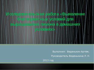 Выполнил: Веденькин Артём, Руководитель Веденькина Л. Н. 2013 год Исследовате
