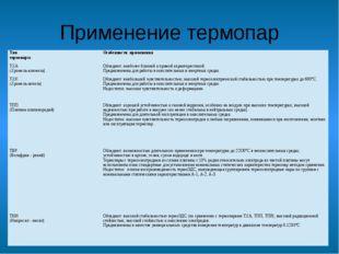 Применение термопар Тип термопары Особенности применения ТХА (Хромель-алюмель
