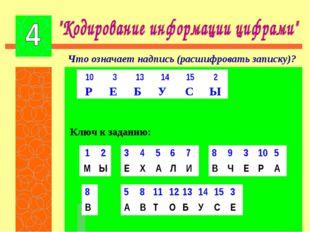 Что означает надпись (расшифровать записку)? Р Е Б У С Ы Ключ к заданию: 103