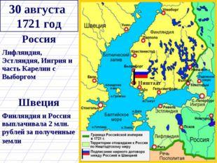 30 августа 1721 год Ништадт Россия Лифляндия, Эстляндия, Ингрия и часть Карел