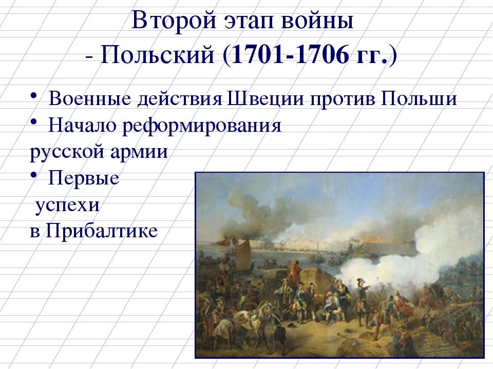 Второй этап войны Военные действия Швеции против Польши Начало реформирования...