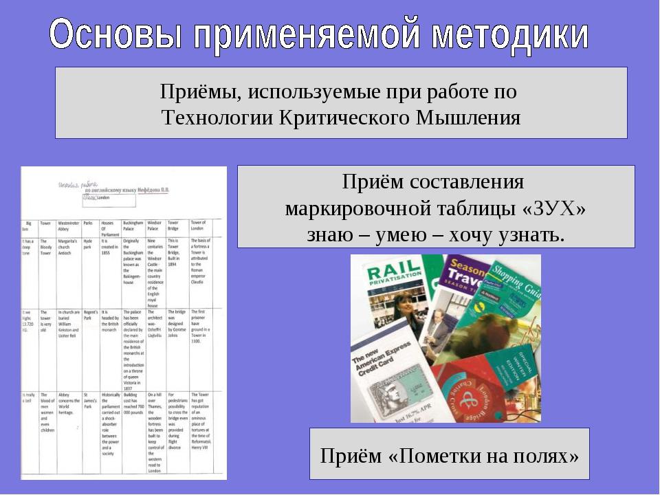 Приёмы, используемые при работе по Технологии Критического Мышления Приём «По...