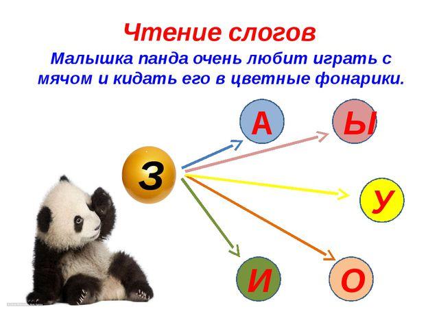 Чтение слогов Малышка панда очень любит играть с мячом и кидать его в цветные...