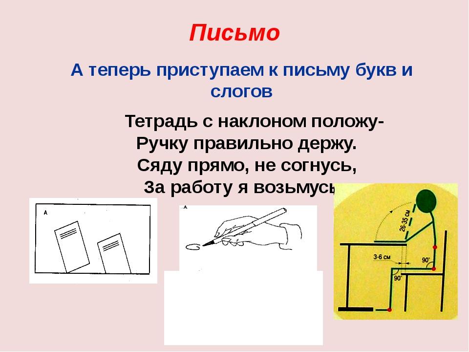 Письмо А теперь приступаем к письму букв и слогов Тетрадь с наклоном положу-...