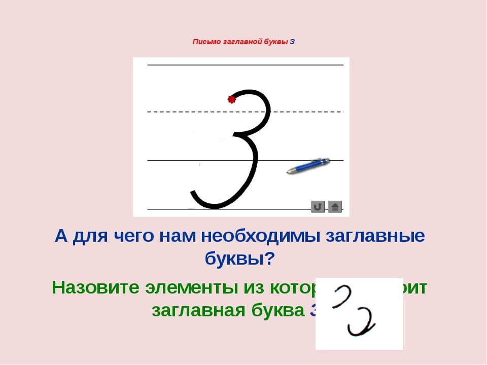 Письмо заглавной буквы З А для чего нам необходимы заглавные буквы? Назовите...