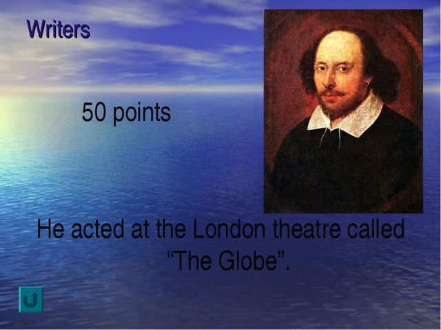 "Writers 50 points He acted at the London theatre called ""The Globe""."