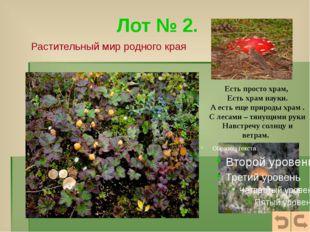Растительный мир родного края «…Так наклонись, Вглядись в глаза любому из рас