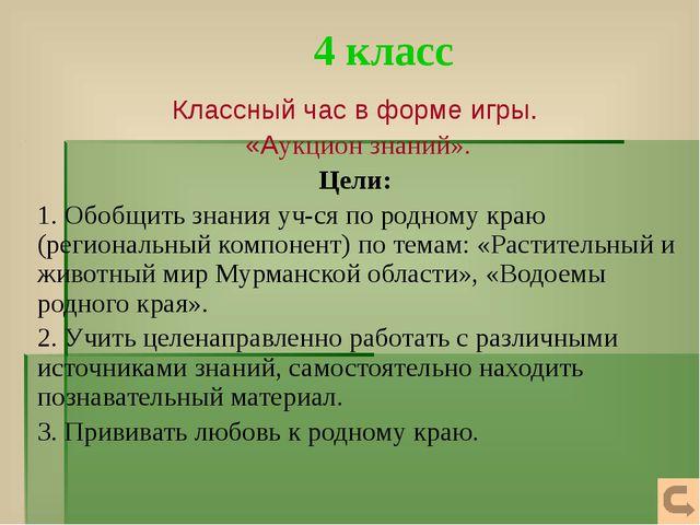 4 класс Классный час в форме игры. «Аукцион знаний». Цели: 1. Обобщить знания...
