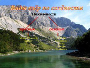 (Менее 1 % солей) Байкал (1-47 %) Каспийское (15%) Эльтон Баскунчак По солёно