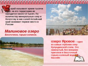озеро Яровое – одно из самых глубоких озер Кулундинской степи. Это замкнутый,