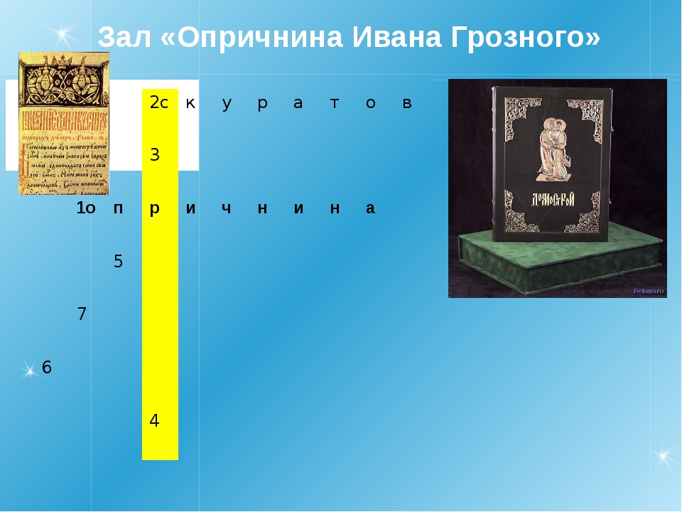 Зал «Опричнина Ивана Грозного» 2с к у р а т о в 3 1о п р и ч н и н а 5 7 6 4