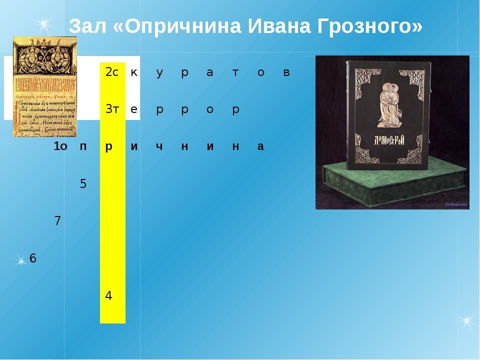 Зал «Опричнина Ивана Грозного» 2с к у р а т о в 3т е р р о р 1о п р и ч н и н...
