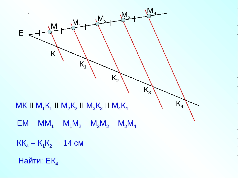 Е М М1 М2 М3 М4 МК II М1К1 II М2К2 II М3К3 II М4К4 ЕМ = ММ1 = М1М2 = М2М3 = М...