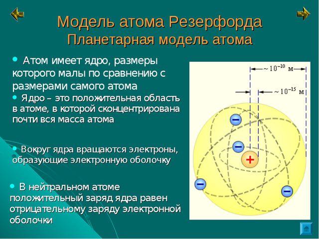 Модель атома Резерфорда Планетарная модель атома Атом имеет ядро, размеры кот...