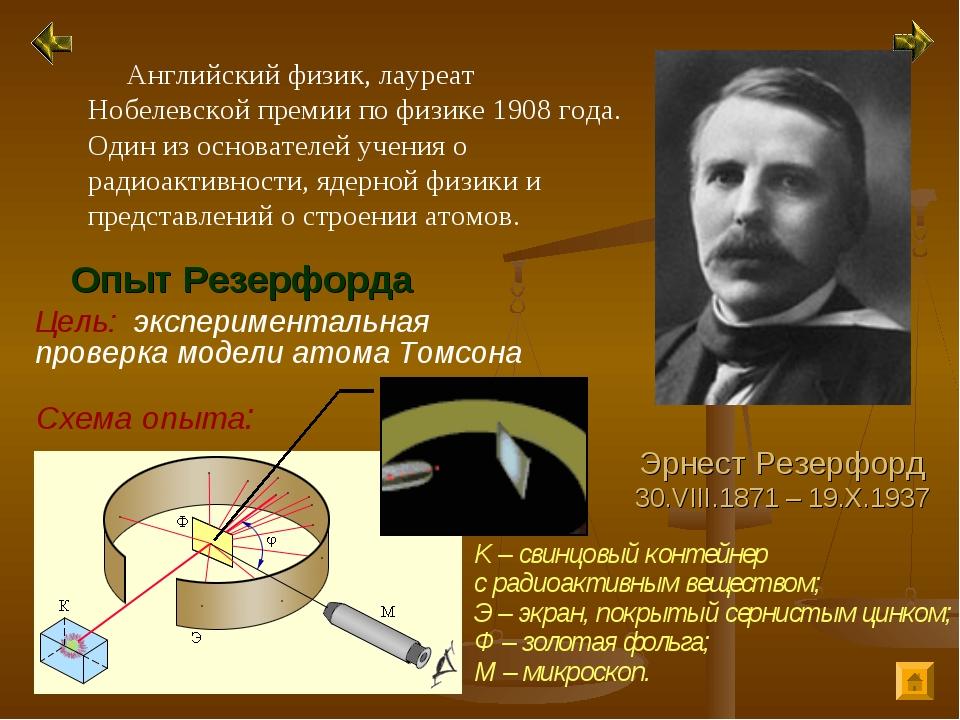Схема опыта: Эрнест Резерфорд 30.VIII.1871 – 19.X.1937 Английский физик, лаур...