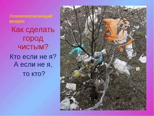 Основополагающий вопрос Как сделать город чистым? Кто если не я? А если не я,...
