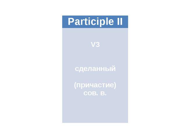 Participle II  V3   сделанный  (причастие) сов. в.