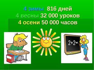 4 зимы 816 дней 4 весны 32 000 уроков 4 осени 50 000 часов