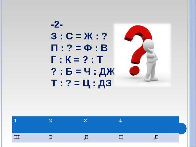 -2- З : С = Ж : ? П : ? = Ф : В Г : К = ? : Т ? : Б = Ч : ДЖ Т : ? = Ц : ДЗ 1...