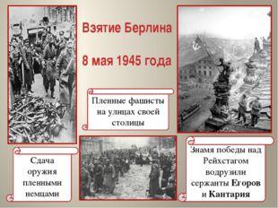 Взятие Берлина 8 мая 1945 года Знамя победы над Рейхстагом водрузили сержанты
