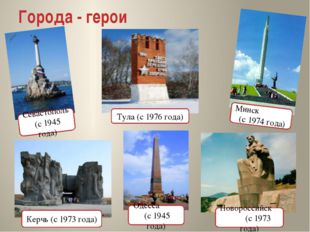Города - герои Минск (с 1974 года) Севастополь (с 1945 года) Тула (с 1976 год