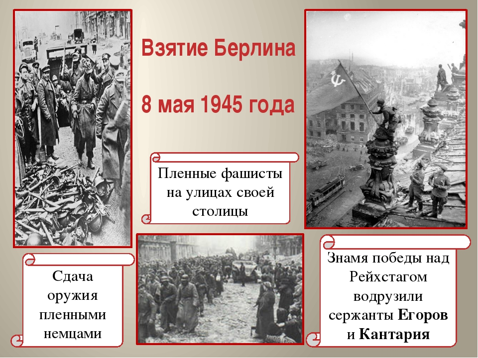 Взятие Берлина 8 мая 1945 года Знамя победы над Рейхстагом водрузили сержанты...