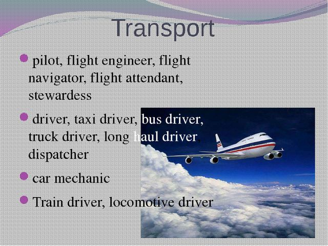 Transport pilot, flight engineer, flight navigator, flight attendant, steward...