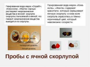 Пробы с ячной скорлупой Газированная вода марок «Спрайт», «Кока-кола», «Фанта