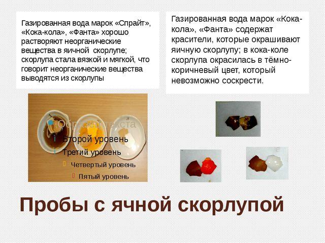 Пробы с ячной скорлупой Газированная вода марок «Спрайт», «Кока-кола», «Фанта...