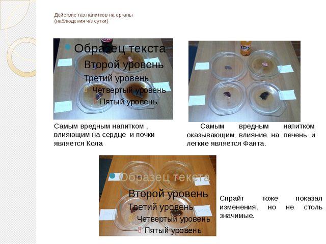 Действие газ.напитков на органы (наблюдения ч/з сутки) Самым вредным напитком...