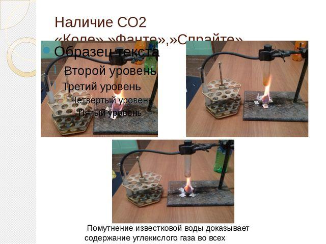Наличие СО2 «Коле»,»Фанте»,»Спрайте» Помутнение известковой воды доказывает с...