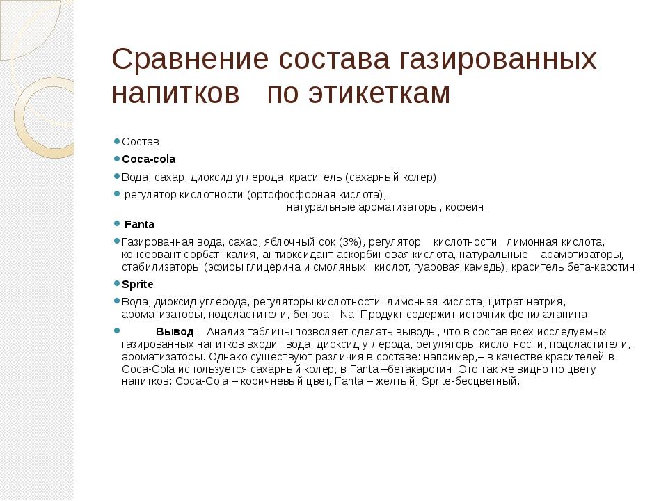 Сравнение состава газированных напитков по этикеткам Состав: Coca-cola Вода,...